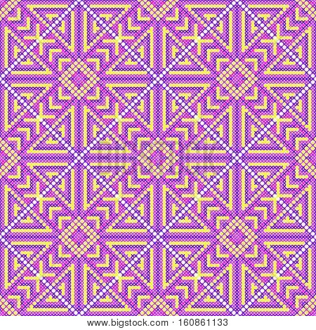 Cross stitch seamless pattern. Embroidery background. Needlework ornament. Bright purple picture. Geometric patterns. Vector illustration.