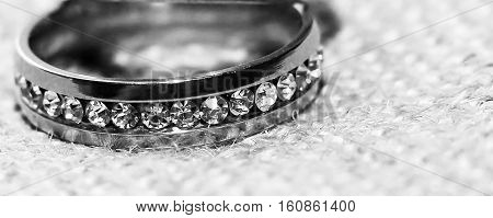 Wedding ring, black and white, diamonds and brilliance