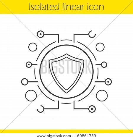 Cyber security linear icon. Thin line illustration. Contour symbol. Shield in microchip pathways. Vector isolated outline drawing