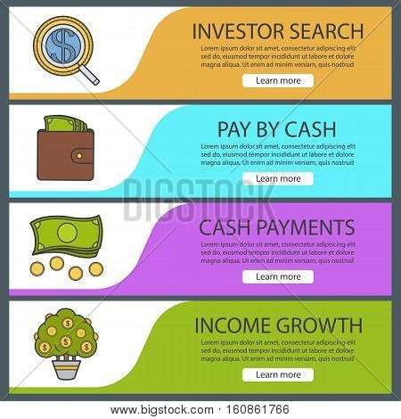 Banking and finance banner templates set. Easy to edit. Investor search, purse with money, cash stack, money tree. Website menu items. Color web banner. Vector headers design concepts
