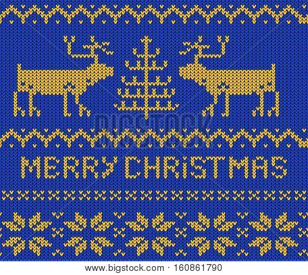 Blue Christmas Jumper seamless knitted Pattern with deers. Vector illustration.