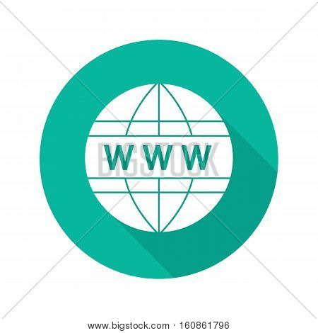 Global network flat design long shadow icon. Www globe symbol. Internet connection. Vector silhouette symbol