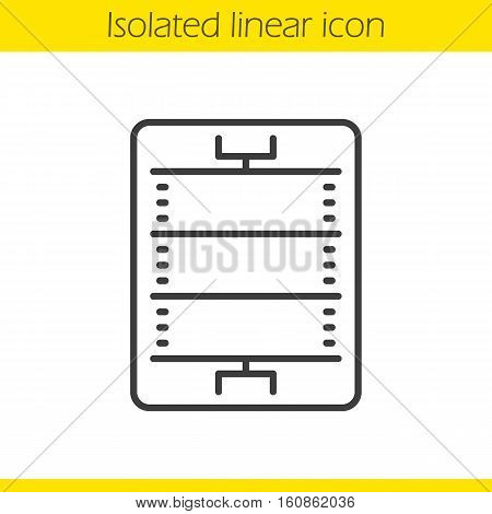 American football or rugby field linear icon. Thin line illustration. Sport game stadium scheme. Contour symbol. Vector isolated outline drawing