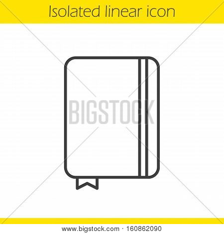 Dairy notebook linear icon. Thin line illustration. Notepad with bookmark. Journal contour symbol. Vector isolated outline drawing