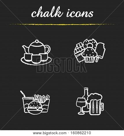 Food and drinks chalk icons set. Tea, confectionery, fastfood and alcohol drinks illustrations. Isolated vector chalkboard drawings