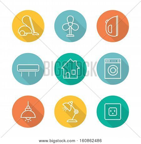 Household appliances flat linear long shadow icons set. Vacuum cleaner, iron, air conditioner, house, washing machine, ceiling and table lamps, power rosette. Home electronics . Vector line symbols