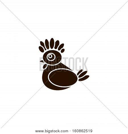 Silhouette chicken on white background. Vector illustration of logo symbol 2017