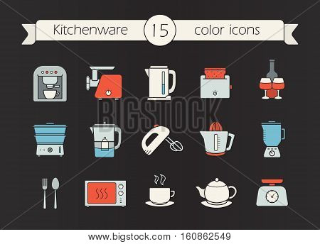 Kitchen appliances color icons set. Coffee machine, mincer, kettle, toaster, steam cooker, mixer, water filter, juicer, blender, teapot, scales, microwave oven. Isolated vector illustrations