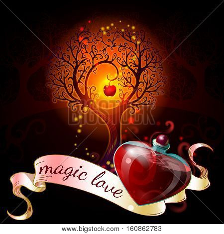 Cartoon Natural Elements composition with love poison and white ribbon magic love vector illustration