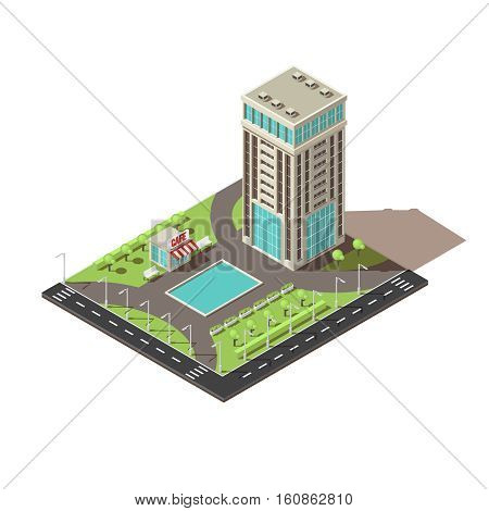 Isometric office building design with territory including cafe and benches trees and lawn walkways vector illustration