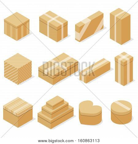 Set of cardboard boxes. Flat isometric. A container for goods. Packaging, storage and transportation. Delivery in the package. Vector illustration.