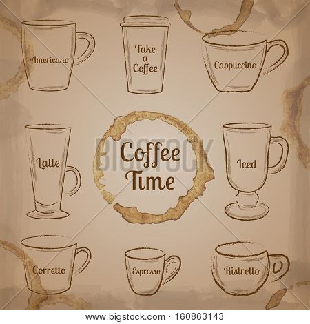 Set of brown hand drawn coffee cups and spots on beige vintage background vector illustration