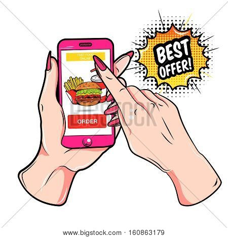 Colored fast food online composition with online order by phone in pop art style vector illustration