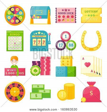 Sixteen isolated vector lottery theme elements set with money cards chips jackpot and gaming luck symbols vector illustration