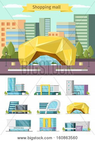 Orthogonal concept with shopping mall and environment design and set of buildings icons isolated vector illustration