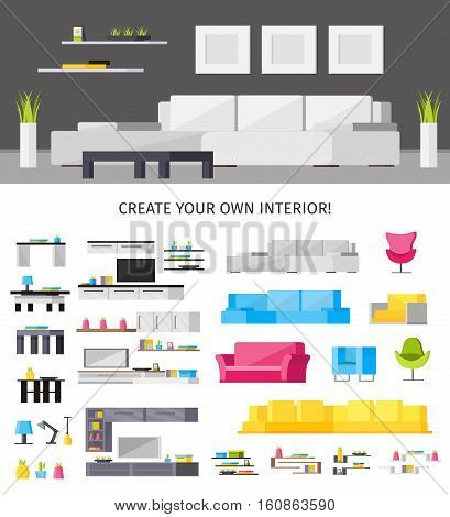 Home interior orthogonal concept with living room and set of furniture lamps and accessories isolated vector illustration
