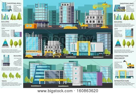 Building orthogonal infographics with construction site at day and at night shopping mall and charts vector illustration