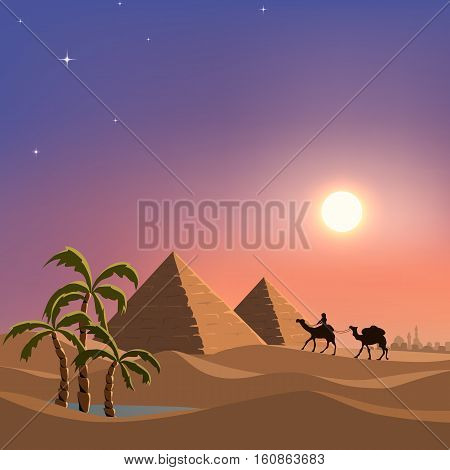 Cartoon illustration of small oasis in the desert. Caravan of camels. Hyramids Giza. No transparency used. vector illustration