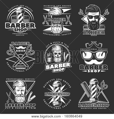Monochrome barbershop decorative label set with glasses scissors icons hipster signs and barber character with beard vector illustration