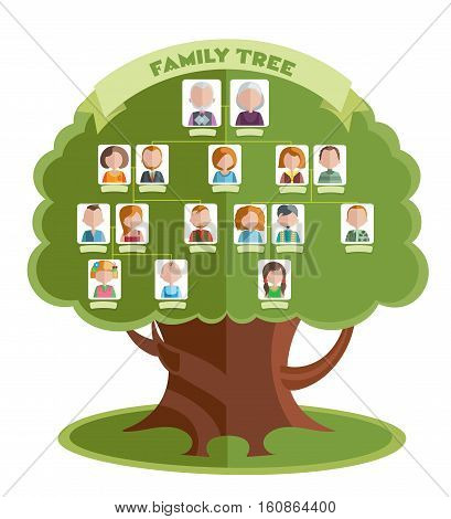 Family tree template with portraits of relatives and place for text on green background vector illustration