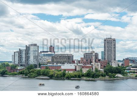 Riverfront Buildings along the Ottawa River in Gatineau Quebec Canada
