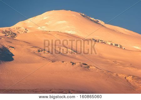 Elbrus Mountain west summit glacier Landscape Travel serene scenic view from north side