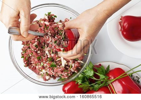 Baked paprika stuffed with meat and rice, cooking series