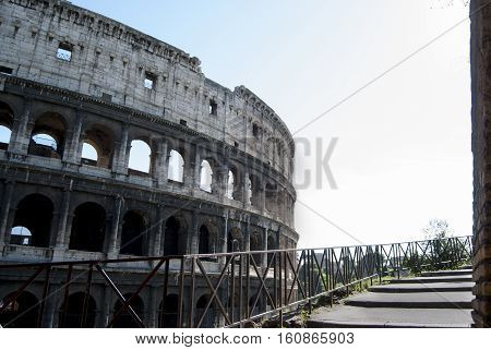 unusual view of the Colosseum in Rome