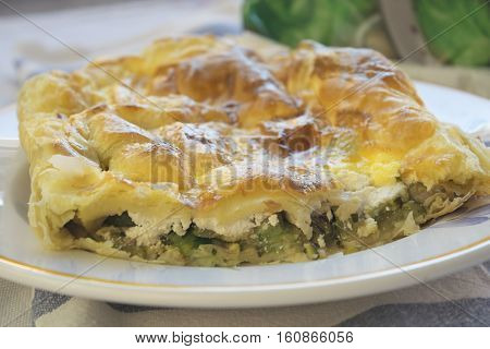 savoury cake filled with vegetable and cheese