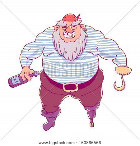 One-legged, bearded pirate in bandana. A man in a vest, with a bottle of alcohol and a hook. Vector character design isolated on white background.
