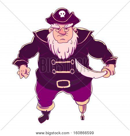 One-legged, bearded pirate in a cocked hat with a skull. Man in coat. Curved sword. Vector character design isolated on white background.