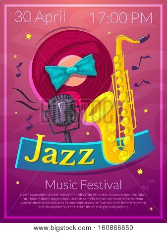Jazz festival advertising poster, vector illustration International Jazz Day