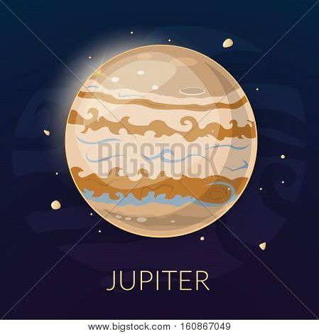 The planet Jupiter, vector illustration isolated on background