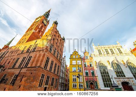 View on the town hall in the center of the old town of Gdansk, Poland
