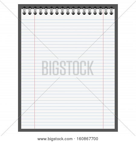 empty sample of spiral notebook. Blank notebook template. Vector illustration. copybook template. note pad blank. with horizontal lines