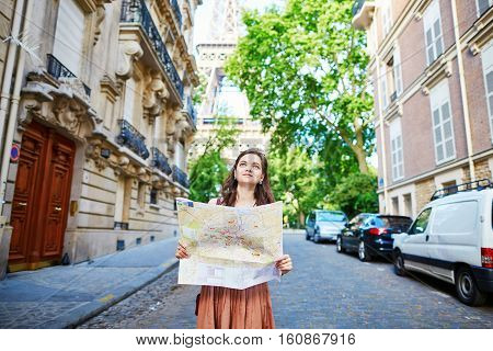 Young Tourist On A Street Of Paris