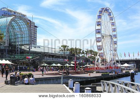 SYDNEY, AUSTRALIA - NOVEMBER 25, 2016: Modern skyscrapers at Darling Harbour in Sydney Australia. Darling Harbour is home to a number of major public facilities and attractions