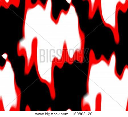 Seamless abstract background in black, pink and white,red spots and lines, holes and blots with long tails and meek, gentle and spirited