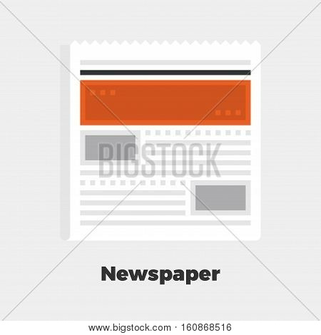 Newspaper Flat Icon. Material Design Illustration Concept. Modern Colorful Web Design Graphics. Premium Quality. Pixel Perfect. Bold Line Color Art. Unusual Artwork Isolated on White.