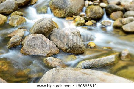 Water flowing over rocks in dry evergreen forest,thailand.