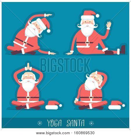 Santa Claus Doing Yoga Isolated.vector Christmas Card Illustration