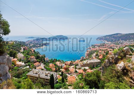 beautiful lanscape of riviera coast and turquiose water of cote dAzur at summer day, France