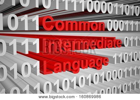 Common Intermediate Language as binary code, 3D illustration
