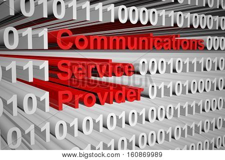 communications service provider in the form of binary code, 3D illustration