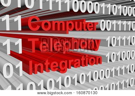 Computer Telephony Integration presented in the form of binary code 3d illustration