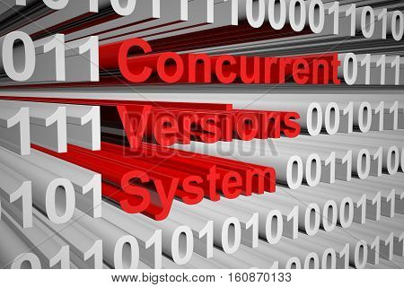 Concurrent Versions System in the form of binary code, 3D illustration