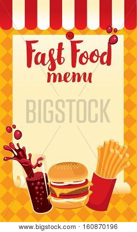 menu price fast food with cola hamburger and fries