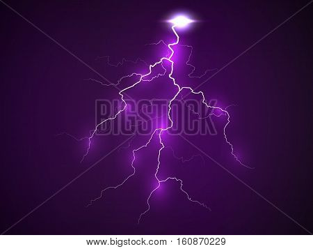 A flash of lightning. Realistic effect of electrical discharge. Dark purple background. Vector illustration.