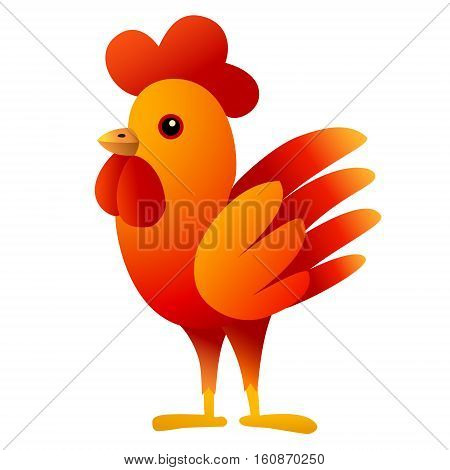 Red Cockerel. Symbol 2017. Christmas theme. Isolated character. White background. Vector illustration.