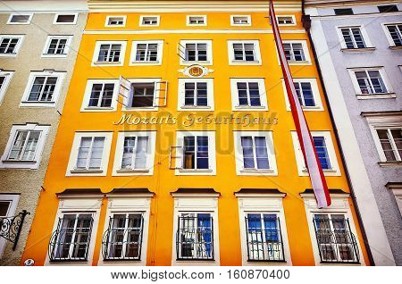Birth House Of Wolfgang Amadeus Mozart In Salzburg, Austria. Ins